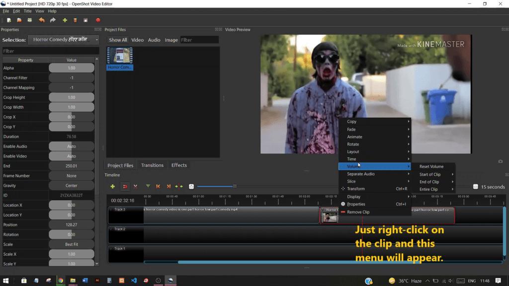 Muting audio in Original Clip in OpenShot